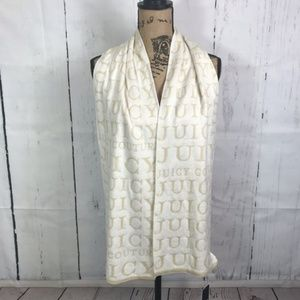 Juicy Couture NWT Ivory Tan Logo Muffler Scarf